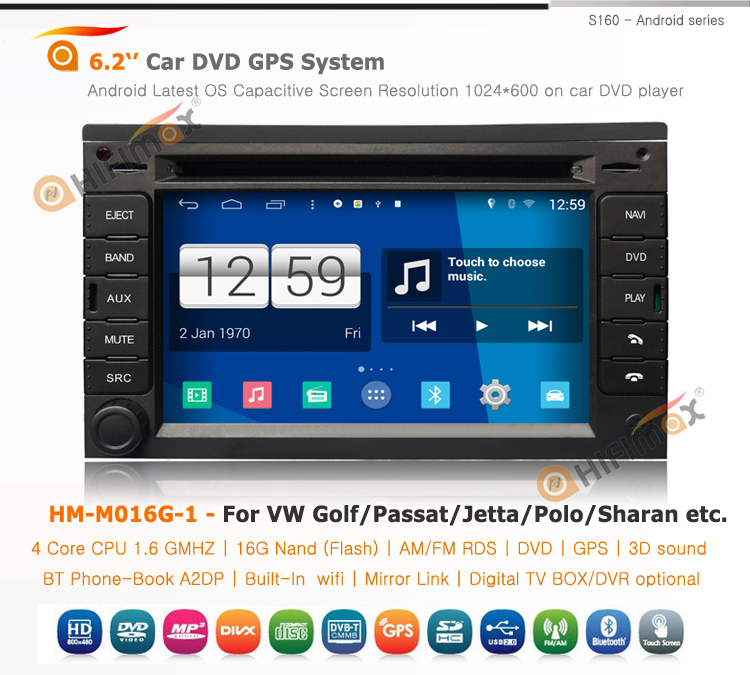 Hifimax S160 series vw Transporter(T4&T5) android car dvd/vw Golf (mk4) car multimedia android 4.4.4 HD 1024*600 with 4 Core CPU