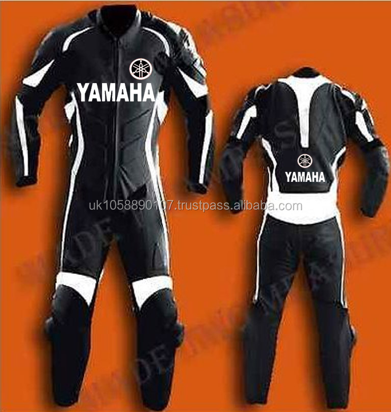 1 pc black and white yaham leather suit biker suits , ce aproved racing leathers