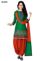Fashionable Parrot Green And Red Color Un Stitched Traditional Punjabi Suit