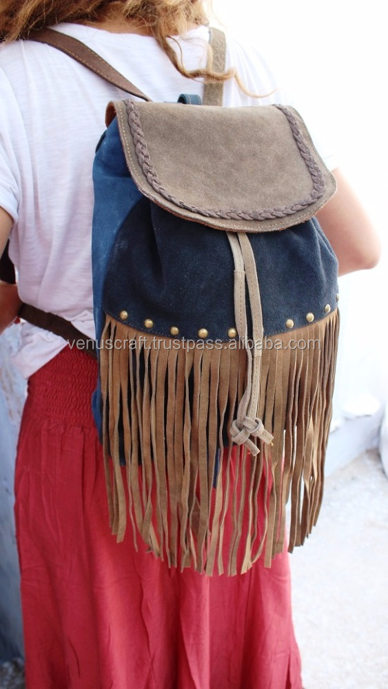 Real Suede Leather Hand Made fringe Ruck Sack bag's for girl's from venus crafts