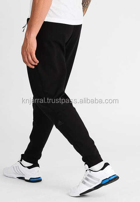 stylish look slim fit men black fleece sweatpant with synthetic leather panel for boys