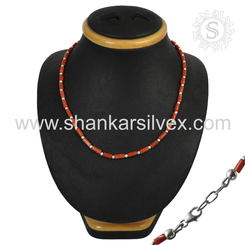 Charming Red Coral Gemstone Jewelry Beads Necklace 925 Silver Jewelry Indian Silver Jewelry