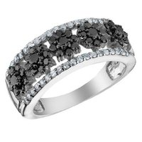 Black Diamond Flower Ring in 14K White Gold