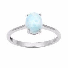 925 Sterling Larimar Newest Good Looking Solid Silver Women New Designer Ring Jewelry