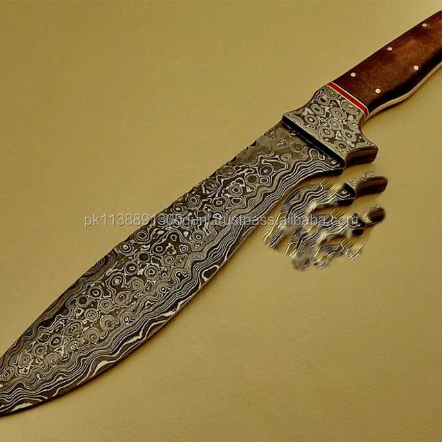 A SCENIC MICARTA SHEET HANDLE, DAMASCUS STEEL BOWIE KNIFE