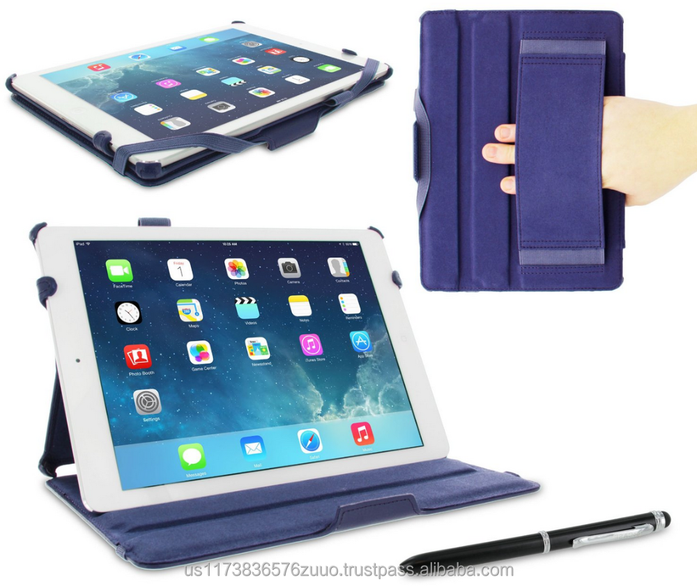 Slim Fit Premium PU leather exterior, microfiber interior Lightweight Folio Stand Smart Cover Sleep/Wake for iPad Air 1 Navy