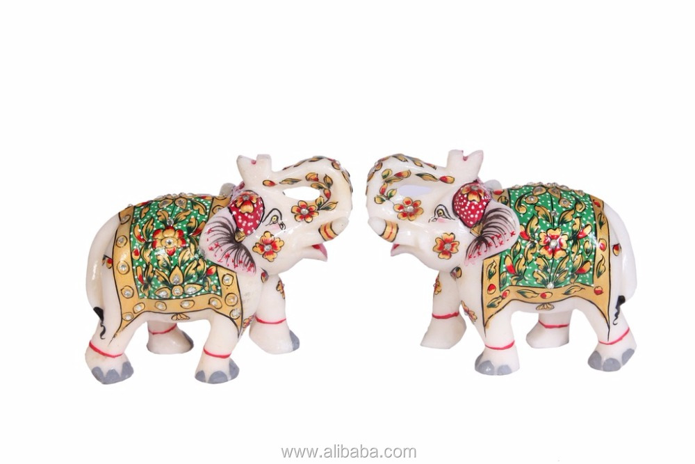 Hand Painted Marble Elephant set of 2