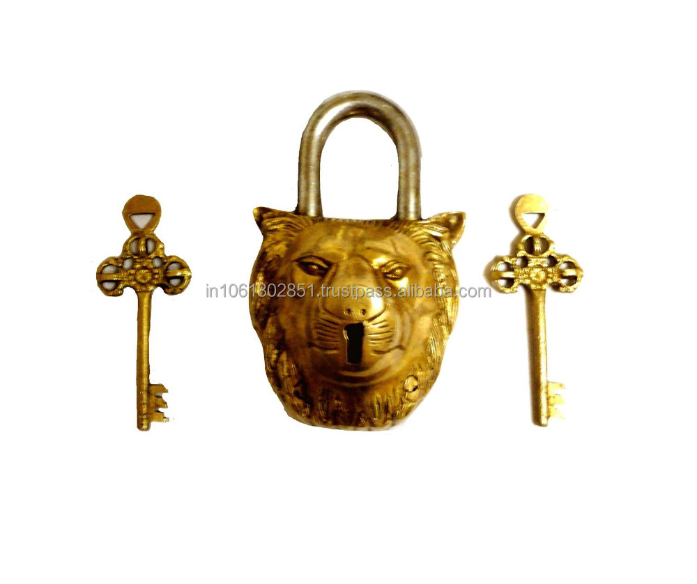 Lion Shaped Brass Lock Antique Handcrafted Locks for Security (10004