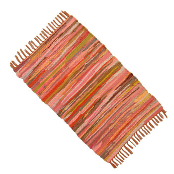 "Indian Chindi Cotton Rag Rug Floor Runner Recycled Throw Hand Woven Mat Dari 34"" X 20"" Inches RUG1521A"