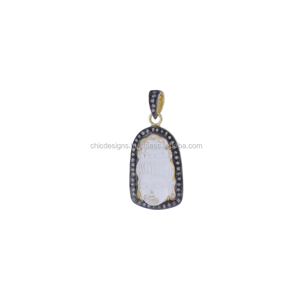 Jewelry Components Pave Diamond Opal Gemstone 925 Sterling Silver Designer Religious Buddha Pendant