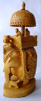 Athenic Indian Fine Carved Elephant Souvenirs - Wooden Handmade Elephnat Riders as Palanquin - Sculpture