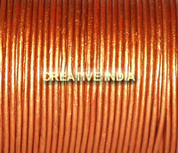 METALLIC LEATHER CORDS, COPPER COLOR