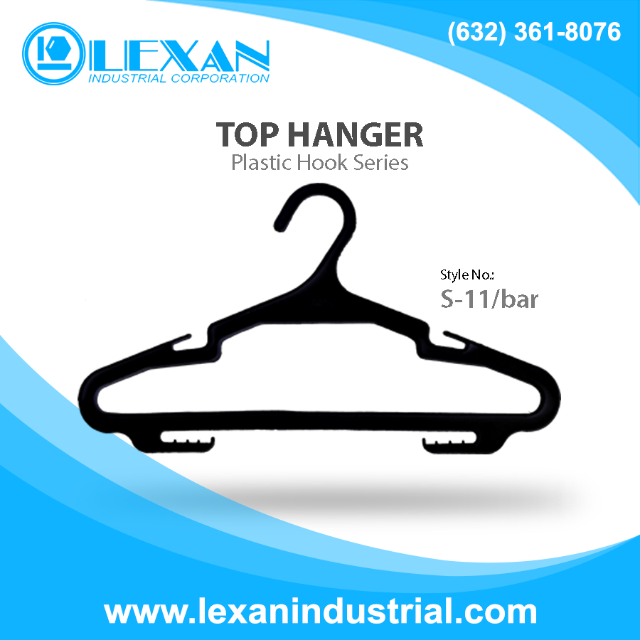 "S11/Bar - 11"" Plastic Hanger with Plastic Hook for Tops, Shirt, Blouse (Philippines)"