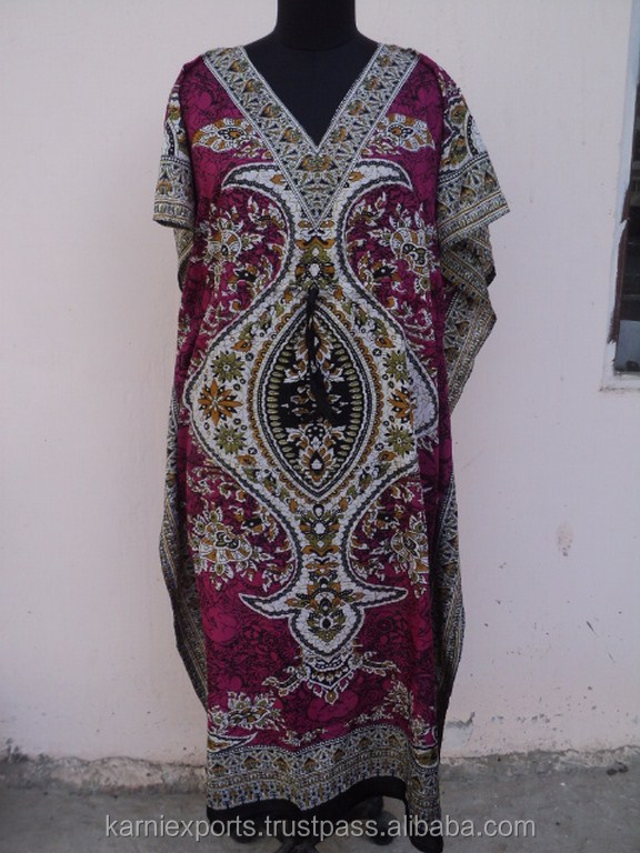 Traditional Design Printed Long Polyester Summer Wear , Evening Night Wear Kaftan Dress