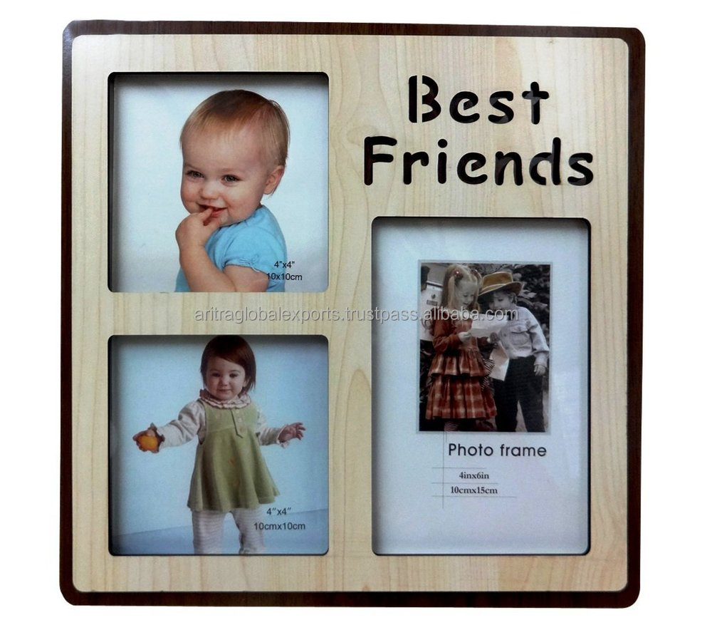 'Best Friends' Tabletop Wooden Photo Frame for 3 Pictures and Engraved Lettering