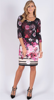 PRETTY FLORAL AND GEOMETRIC LIGHT WEIGHT JERSEY DRESS, FULLY LINED