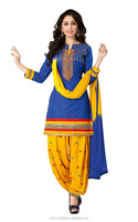 Fashionable Blue And Gold Color Cotton Unstitched Stylish Patiala Salwar Suit