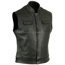 MEN ANARCHY COWHIDE ANALINE BIKER LEATHER VEST MOTORCYCLE