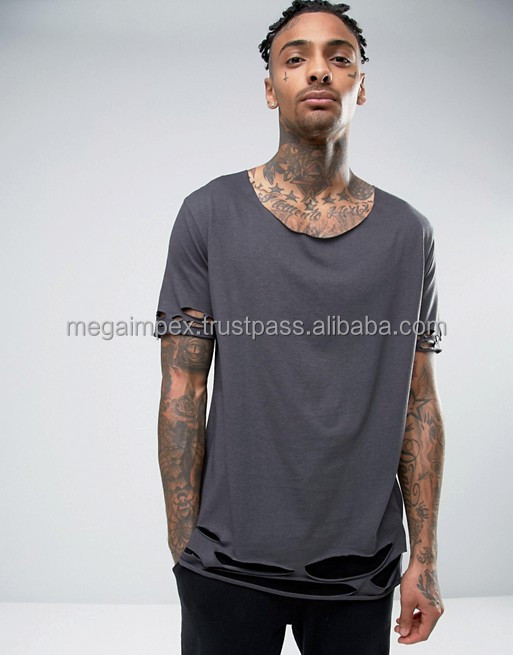 Distressed Elongated T Shirts - 2017 new custom Blank Distressed Long line T shirt for men