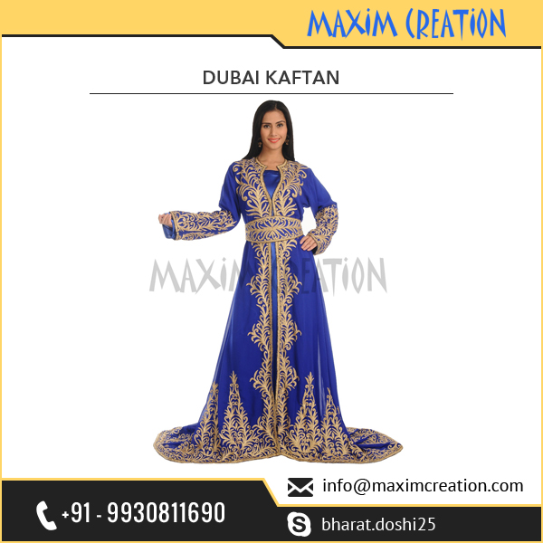 Beautifully Designed Dubai Kaftan Dress with Machine Embroidery Ari Work