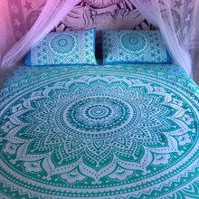 Beautiful unique colored Green ombre mandala tapestry bed sheet & pillow cases bohemian bedsheets