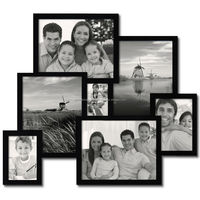 7 Openings 3-D Picture Collage Frame - Holds One 4.5x3 One 4x6 One 5x7 and Four 8x10 Inches Photos - Black Wood Frame