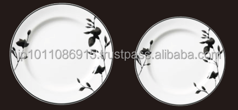 "Alumicron China Coffee Cup Reinforced Porcelain Dish Series ""Rin"" Japanese Design Plate"