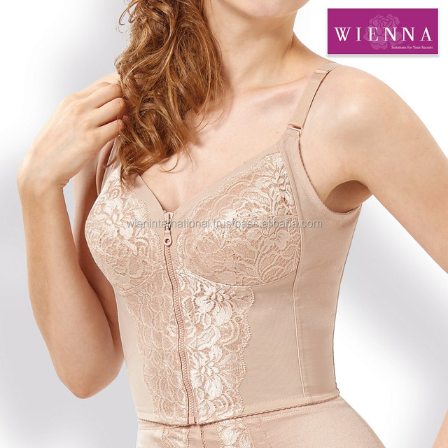 Long body shaper bra, lace plus size cup and front zip shapewear with back support