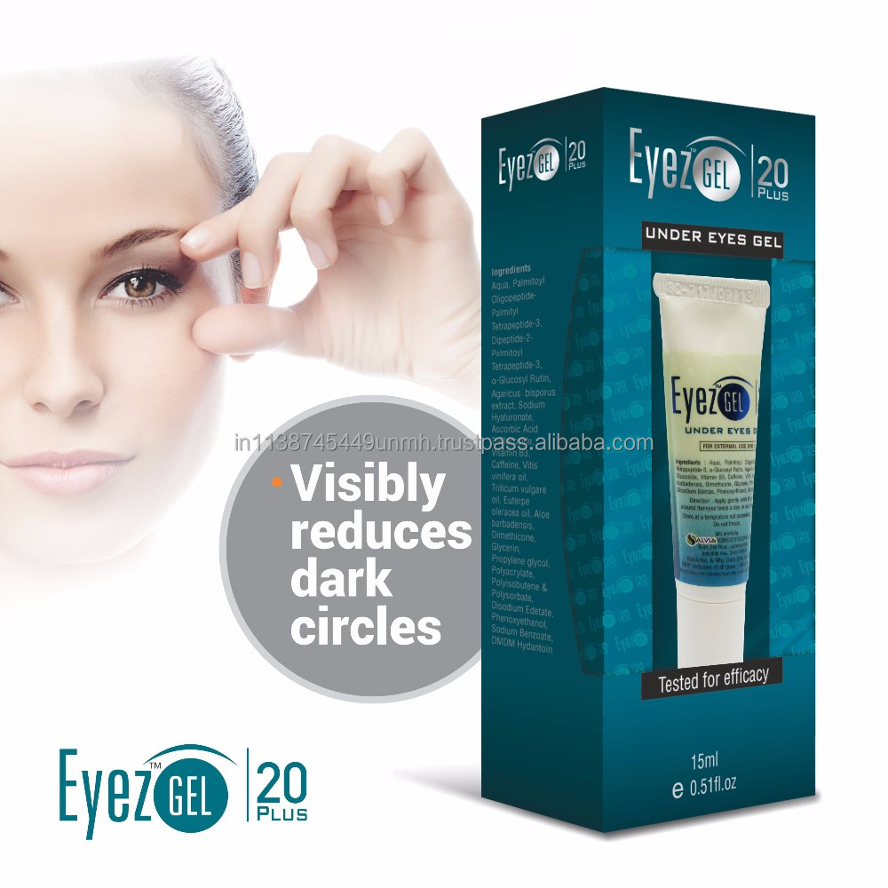 Eye Gel Cream 20 Plus - Peptides, Vitamin C, Caffeine & Antioxidants, visibly reduces dark circles