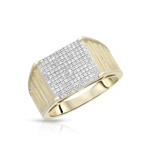 Certified 0.75 Tcw SI2 Clarity Real Natural White Diamonds Round Cut Stylish Mens 18Kt Gold Ring at Worldwide Free Shipping