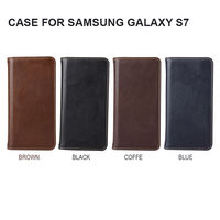 Genuine leather wallet phone case For Samsung Galaxy S7 with credit card holder