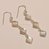VINTAGE NEW DANGLER!! RAINBOW MOON STONE 925 STERLING SILVER GEM STONE HANDMADE EARRING