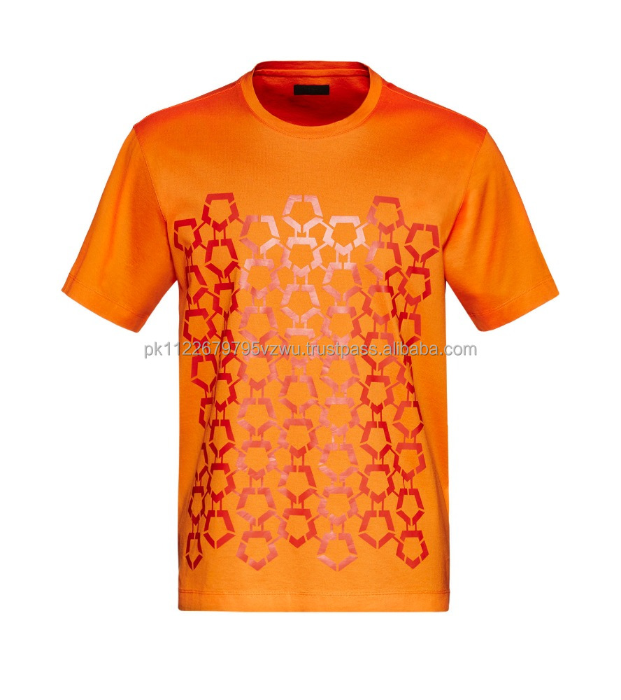 unique quality Orange color silky and strong cotton T-shirt with custom printed front, wholesale price