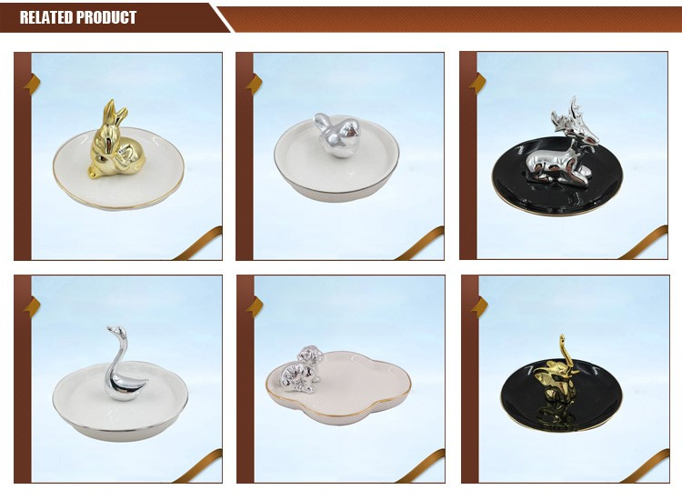 Rabbit Decorative Ceramic Jewelry Holder