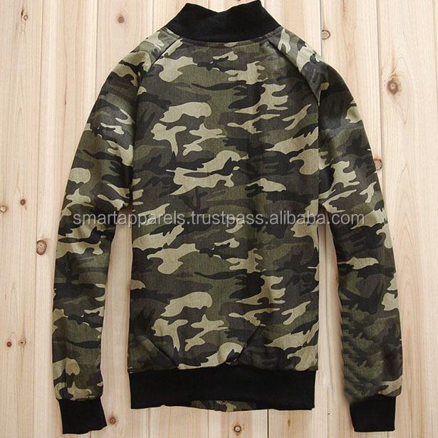 slim fit camouflage cordura jacket with leather sleeves, camo varsity jacket