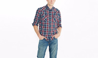 Mens cheap shirt fitted checked flannel shirt