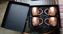 Set of 4 Pure Copper Hammered Moscow Mule Beer Mug with Black Gift Box