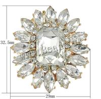 Rhinestone Brooch Zinc Alloy with Glass Flower rose gold color plated can be used as brooch or pendant & faceted & with rhinest
