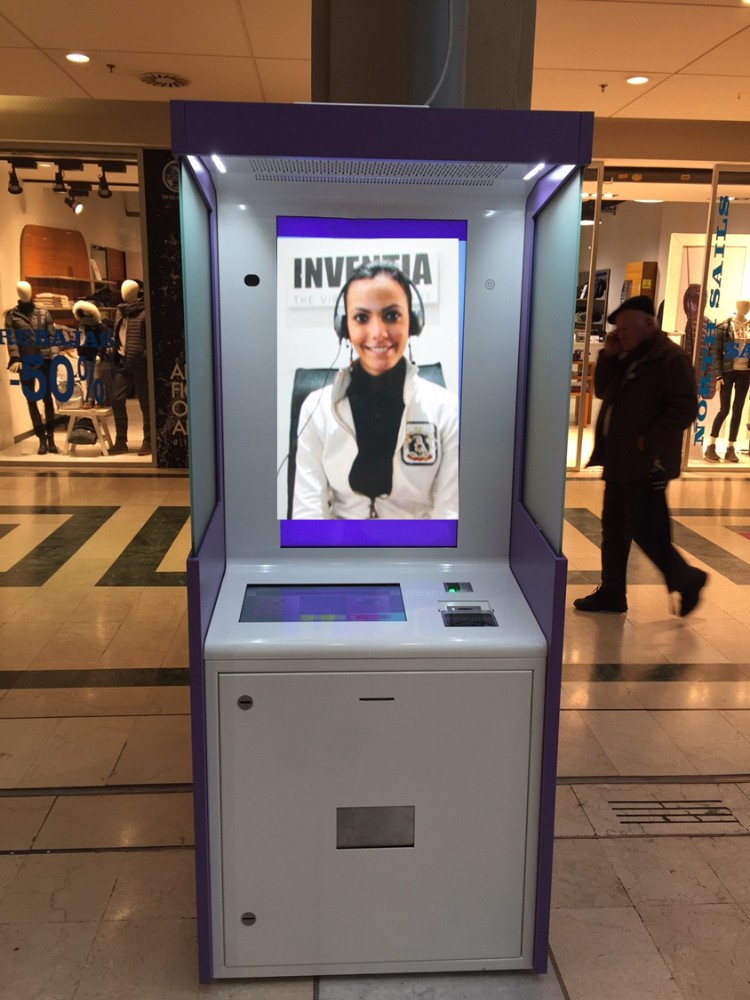 "NEW! Video Kiosk Station with Video Chat Service Included- Italian Design/ Steel Inox- 2 Displays (40""+15"")"