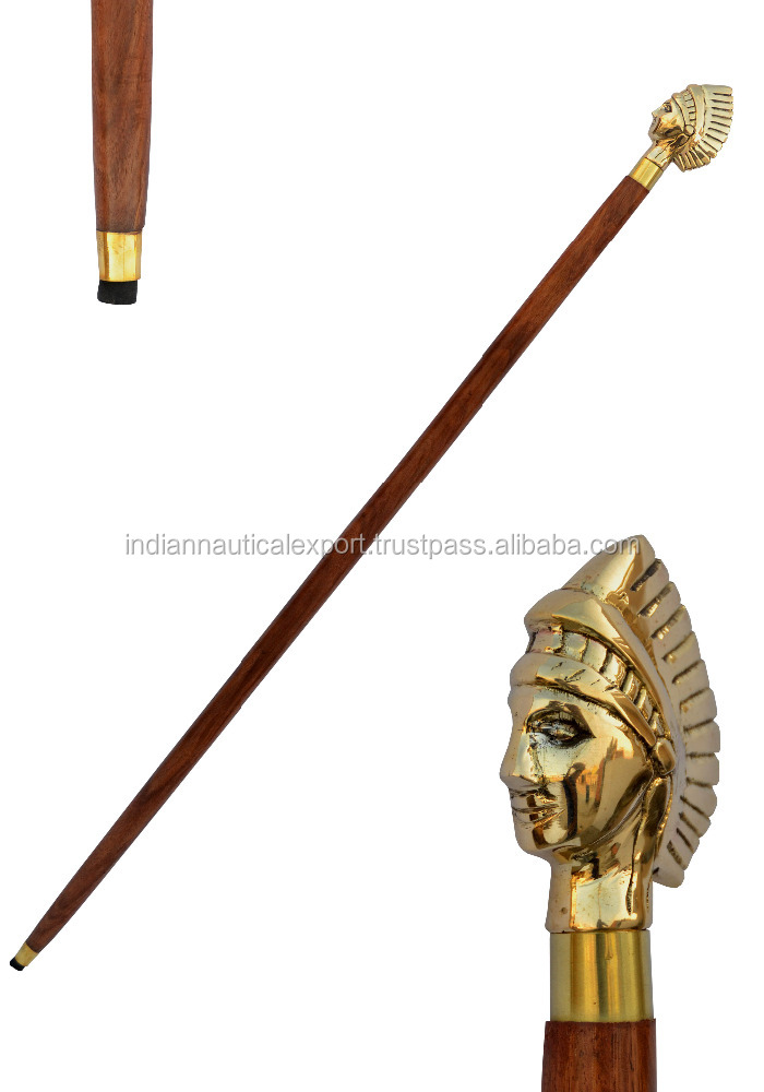 Decorative Hand Craved Wood Cane Walking Stick Wood Brass Handle Indian Chief