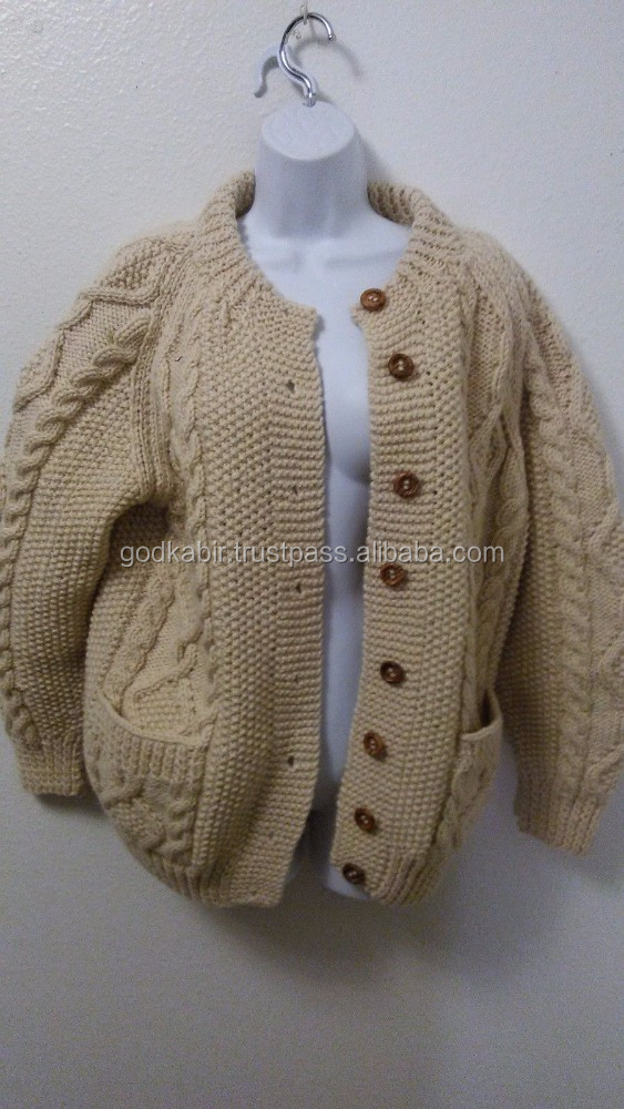 Best pattern design cotton Sweater 100% Wool Thick Cable Knit Aran Sweater Button for top sale cheap and wholesale.