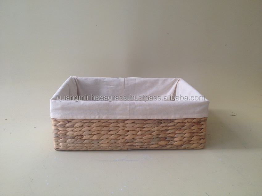 Hot design water hyacinth fruit basket cheap price rattan stationery basket bedroom letter tray made in Vietnam