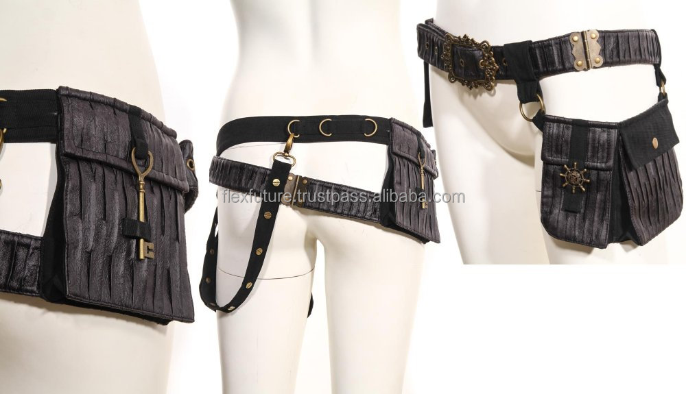 Gothic leather belt with joint bags and hooks and studs