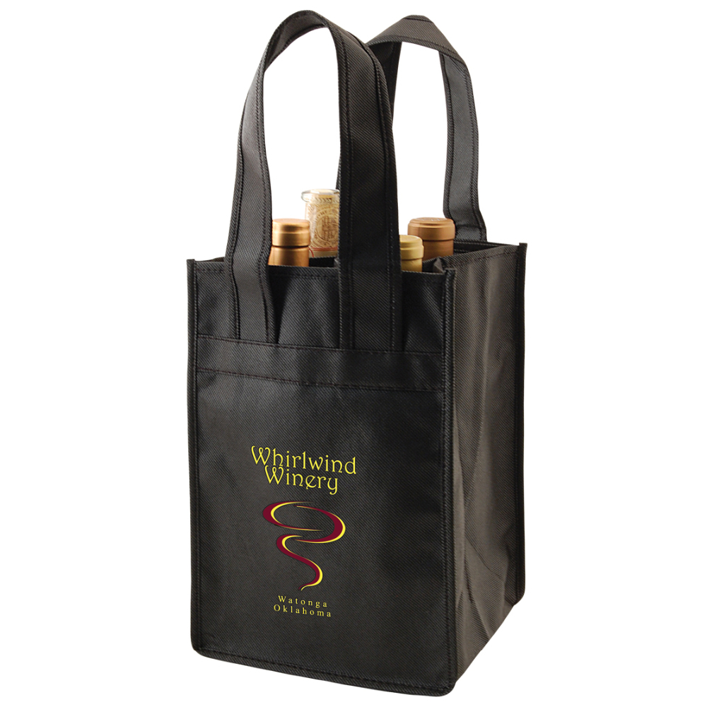 "4 Bottle Wine Tote Bag - fits 4 wine bottles, features 20"" handles and comes with your logo."