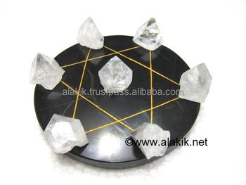 Pentagram Grid Disc with Apophyllite Tipes : Healing Pentagram Disc : Pentacle star disc