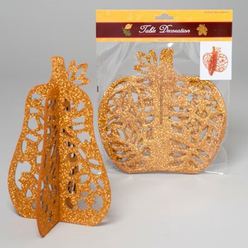 TABLE DECOR 3-D LASERCUT 8-9IN GLITTERED PUMPKIN OR GOURD #G89958