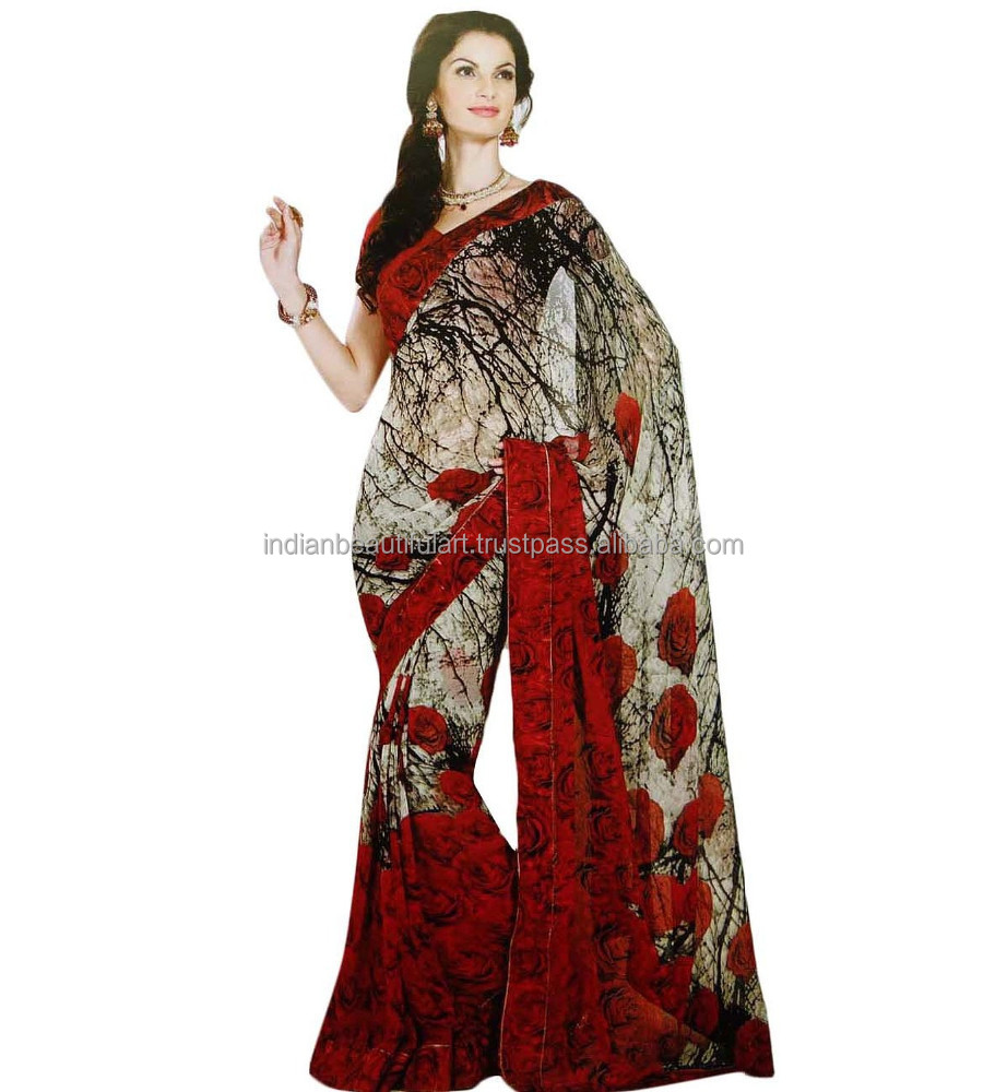 Indian Saree Georgette With Blouse bollywood Sarees Traditional Women Clothing NSR238