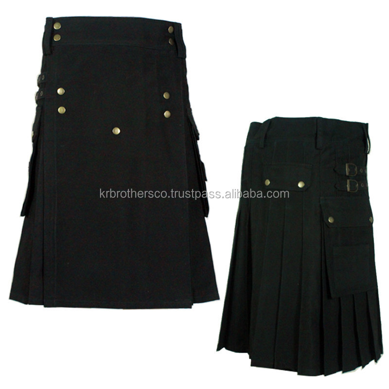 Active Men Black Sports Modern Working Casual Prime Utility Kilt
