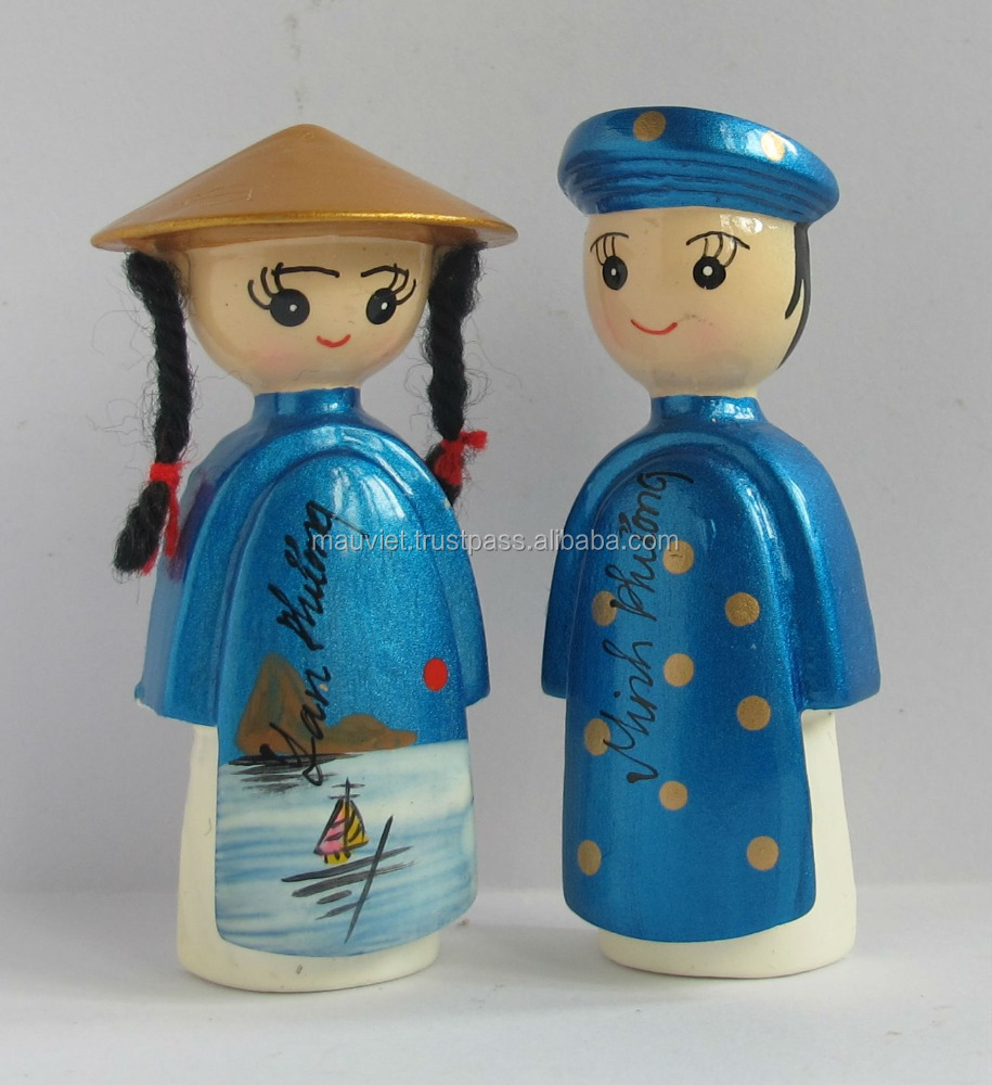 Polyresin Vietnamese couple figurine fridge magnet for wedding decoration