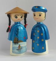 Polyresin Vietnamese couple figurine fridge magnet for wedding decoration